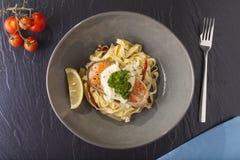 Salmon pasta Stock Photos