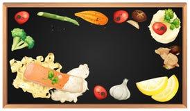 Salmon Pasta och beståndsdel på svart tavla Royaltyfri Bild