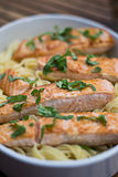 Salmon and Pasta. On a plate Stock Photo