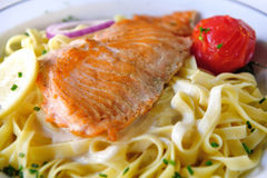 Salmon with Pasta Royalty Free Stock Photo