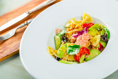 Salmon pasta salad Stock Photo
