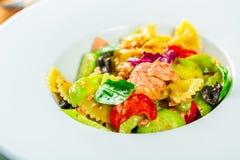 Salmon pasta salad Stock Image