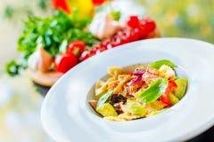 Salmon pasta salad Stock Photography