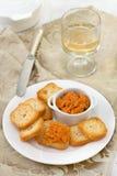 Salmon pate with mini toasts Stock Photos