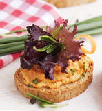 Salmon pate on toast rye bread. Several sandwiches with salmon pate, fish bruschetta Royalty Free Stock Photos