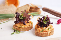 Salmon pate on toast rye bread. Several sandwiches with salmon pate, fish bruschetta Stock Image