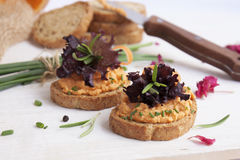 Salmon pate on toast rye bread. Several sandwiches with salmon pate, fish bruschetta Royalty Free Stock Photography