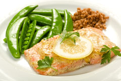 Salmon with Peas and Israeli Couscous Stock Photography