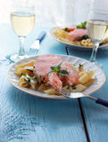 Salmon and penne Stock Images