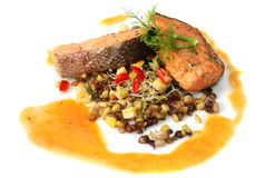 Salmon; pepper grilled Stock Photo