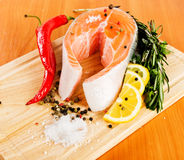 Salmon with pepper. Salmon with lemon and pepper Royalty Free Stock Photography