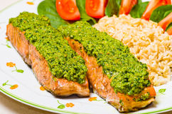Salmon with pesto Stock Photo