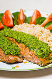 Salmon with pesto Royalty Free Stock Photo