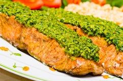 Salmon with pesto Royalty Free Stock Image