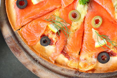 Salmon piece of pizza. Salmon Pizza great Tray is cut into ready to eat Royalty Free Stock Photography
