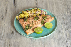 Salmon with pineapple salsa and lime. Food & Dishes for Restaurants, Cuisine of the peoples of the world, Healthy Recipes Stock Photos
