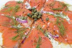 Salmon Pizza Closeup Macro affumicato Fotografia Stock Libera da Diritti