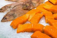 Salmon and plaice for sale. At the Boqueria in Barcelona Stock Image