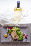 Salmon plate. Salmon dish with salad in a gourmet restaurant Stock Images
