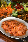 Salmon plate Stock Images