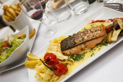 Salmon plate Royalty Free Stock Images