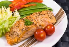 Salmon on plate Royalty Free Stock Photos