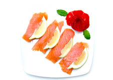 Salmon on plate from above Royalty Free Stock Image