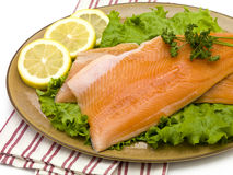 Salmon on Plate with Lettuce Stock Photos