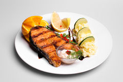 Salmon plate with mashed potatoes Royalty Free Stock Photo