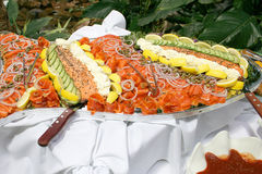 Salmon Platter. Platter of salmon and lemon and pastes Stock Images