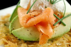 Salmon And Poached Egg Stack Stock Images