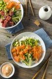 Salmon Poke Bowl orgânico cru Foto de Stock Royalty Free