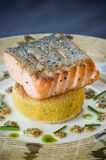 Salmon and polenta Stock Image