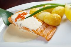 Salmon  with potato Royalty Free Stock Photography