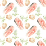 Salmon, potato and dill. Seamless pattern with Royalty Free Stock Photography