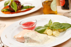 Salmon with potatoes Stock Photography