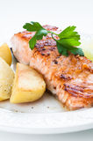 Salmon with Potatoes Stock Photo