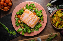 Salmon with potatoes Stock Photos