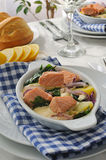 Salmon with potatoes and spinach cream sauce Stock Photo