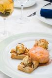 Salmon with puff pies Stock Images