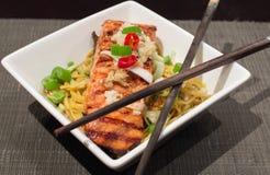 Salmon & Pumpkin Soba Noodle Dinner Stock Photography