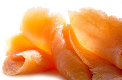 Salmon pure in slices, close up on white Royalty Free Stock Photography