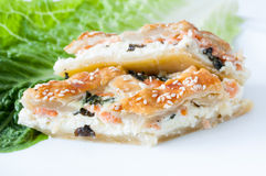 Salmon quiche closeup Royalty Free Stock Images