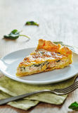 Salmon quiche with spinach. Homemade Spinach and Salmon Quiche Stock Photography