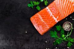 Salmon. Raw salmon fish on dark background royalty free stock image
