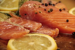 Salmon raw lemon. Delicious appetizing Stock Photo