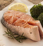 Salmon raw. salmon red fish steak Royalty Free Stock Image
