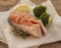 Salmon raw. salmon red fish steak Royalty Free Stock Photos
