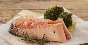 Salmon raw. salmon red fish steak Royalty Free Stock Images