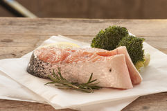 Salmon raw. salmon red fish steak Stock Images